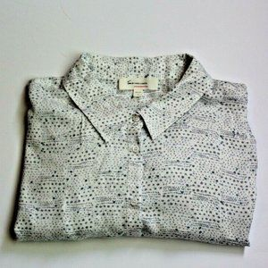 Two by Vince Camuto Flounce Shoulder Button Down L